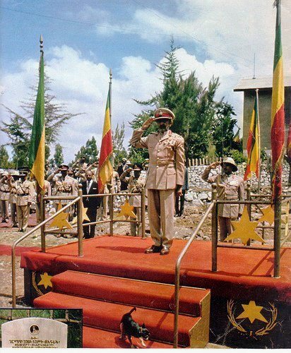 GREEN GOLD AND RED AND THE LION OF JUDAH. LA BANNIERE IMPERIALE ETHIOPIENNE. HAILE SELASSIE I