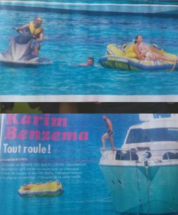 karim benzema et sa femme et leur fille a Ibiza