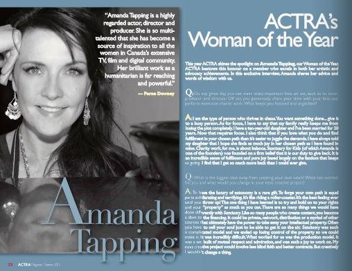 INTERVIEW Traduite d'Amanda pour ACTRA Femme de l'année, été 2015 !
