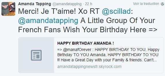 Nouveau TWEET + Un autre tweet d'Amanda avec un joli coucher de soleil + Photo d'Amanda pour XCompany + Amanda a répondue aux messages pour son anniversaire + Nouveaux Tweets + Message traduit d'Amanda !