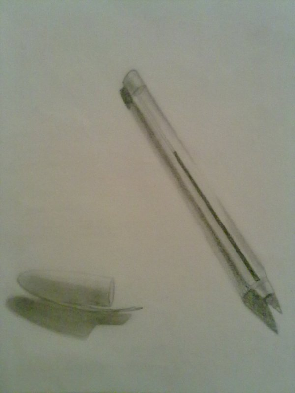 un  stylo en noir et blanc
