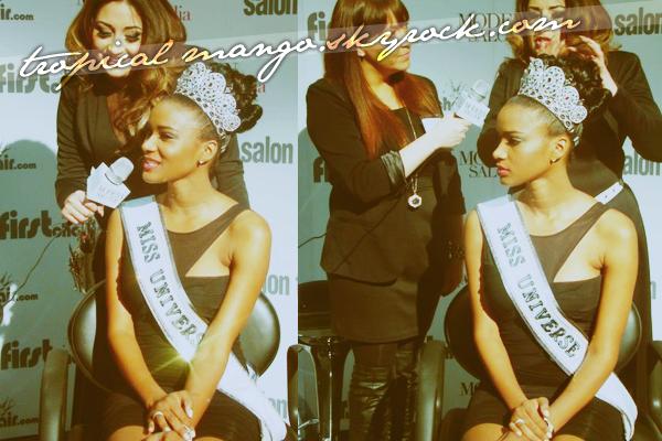 10/03/2012 - Miss Univers 2008, la vénézuelienne Dayana Mendoza durant un gala.Grâce à l'émission/télé réalité dans laquelle elle est actuellement, Dayana a pu réunir pour l'instant  $20,000 pour AIDS Latino.
