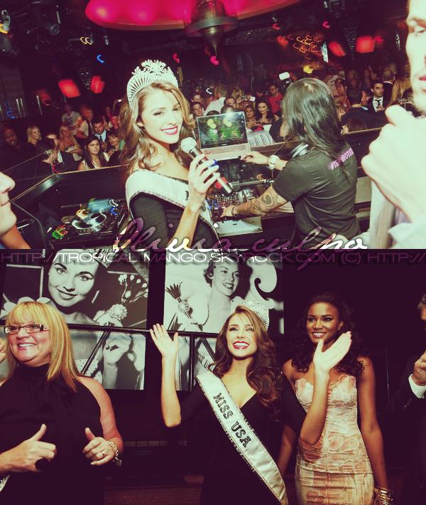 04/06/12 - Olivia Culpo, Miss Usa 2012 lors de la soirée suivant son couronnement. Ci dessous, retrouvez sa première interview télévisée, réalisée le lendemain de l'élection pour le show américain Live with Kelly.