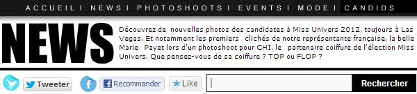 ◆ PLUSIEURS PHOTOS DES CANDIDATES A MISS UNIVERS 2012. ◆