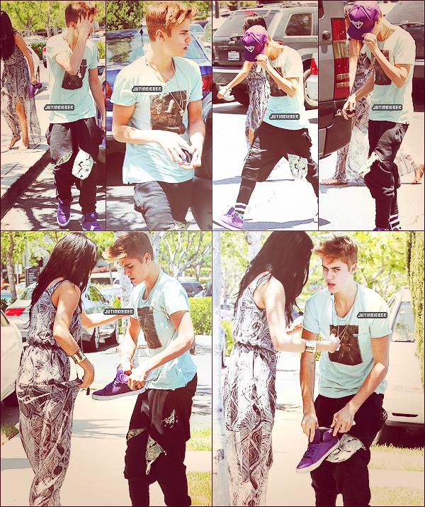 * 27/05/12 :  Justin et sa girlfriend Selena Gomez sortant d'un cinéma à Calabasas. Ton avis ?  ~ Durant cette escapade, un paparazzi a apparemment énervé Justin qui n'a pas su garder son sang froid pour une fois. On peut d'ailleurs bien le remarquer sur les photos. Selon certaines sources, après avoir insulté Selena Gomez, Justin Bieber a « attaqué » le paparazzi a l'aide d'une de ses chaussures. Les pompiers et l'ambulance se sont rendu sur place quelques minutes après. *