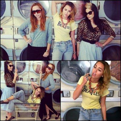 Miley,sa soeur  et Kelly Osbourne