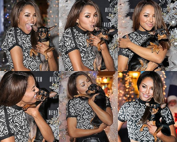 Le 14 Novembre 2013: avec sa chienne Izzy au Beverly Center de Los Angeles.