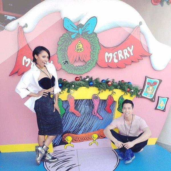 Le 23 Décembre 2013: à Universal studios avec son fiancé et son ami Jared Eng.