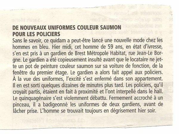Un uniforme rose pour les policiers brestois ?!!!!
