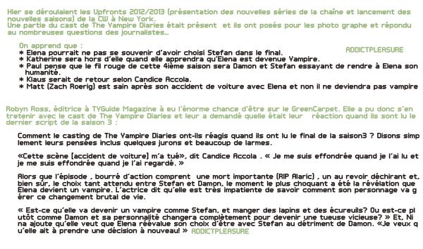 >> ADDICTPLEASURE.skyrock.com NEWS Le cast aux UPFRONT 2012/2013  Création • Décoration • GettinStarbuck