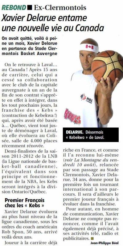 Xavier DELARUE vers une nouvelle vie au CANANDA (La Montagne (05/09/12))