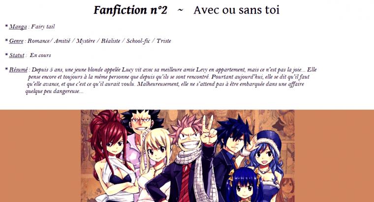 Fanfiction 2 : Avec ou sans toi