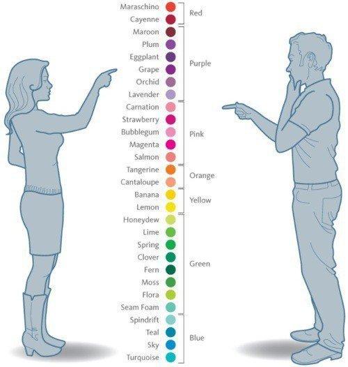 Les hommes & les femmes ne décrivent pas les couleurs de la même façon