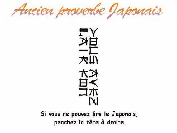 Ancien proverbe japonais !