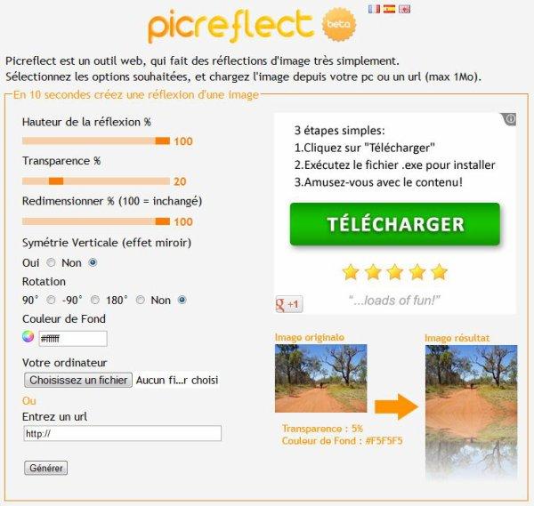 Picreflect : Ajouter un effet reflet à vos photos en 2 clics