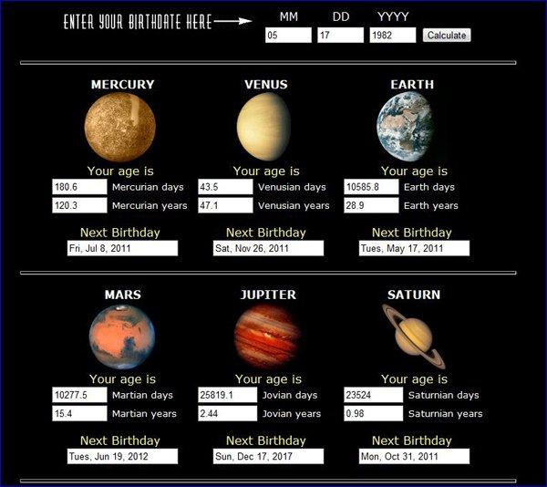 Quel âge aurions nous sur une autre planète?