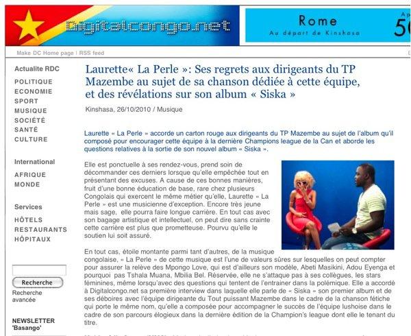 Laurette« La Perle »: Ses regrets aux dirigeants du TP Mazembe au sujet de sa chanson dédiée à cette équipe, et des révélations sur son album « Siska »