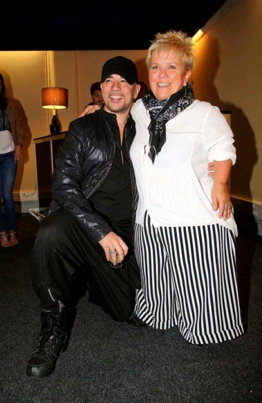 Pascal Obispo et Mimi Mathy après le concert de Patrick Bruel a Bercy