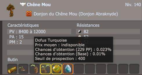 Dofus Emeraude, Turquoise et Pourpre - Taux de drop.