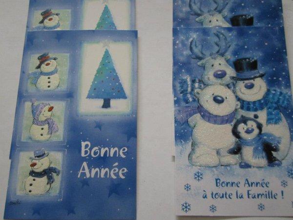 """Cartes de voeux """" Bonhommes de neige """""""