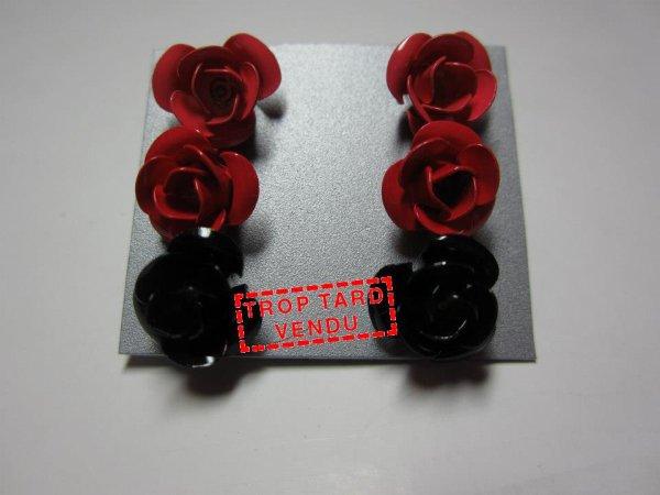 """Boucles d'oreilles """" Rose """""""