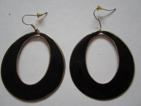 """Boucles d'oreilles """" Créole noire """""""