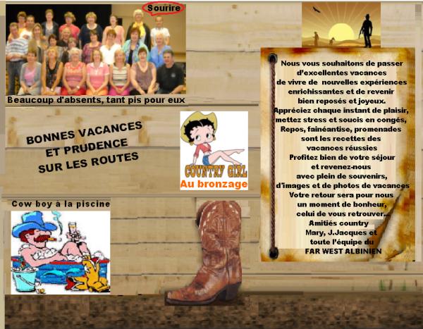 UN PETIT MESSAGE POUR TOUS NOS AMIS DE LA COUNTRY OU D'AILLEURS...