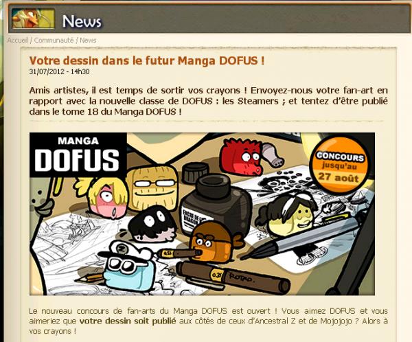 Votre dessin dans le futur manga Dofus !