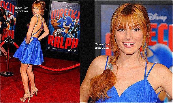 """Le 29/10/12 : Bella été présente à l'avant première du dessin animé """"Wreck-It-Ralph""""."""
