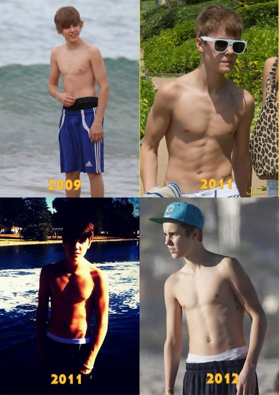 Justin Bieber sin camisa