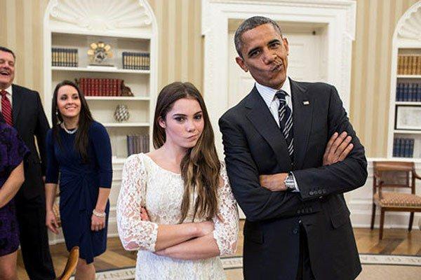 """Obama con McKayla haciendo la cara """"No estoy impresionado"""""""