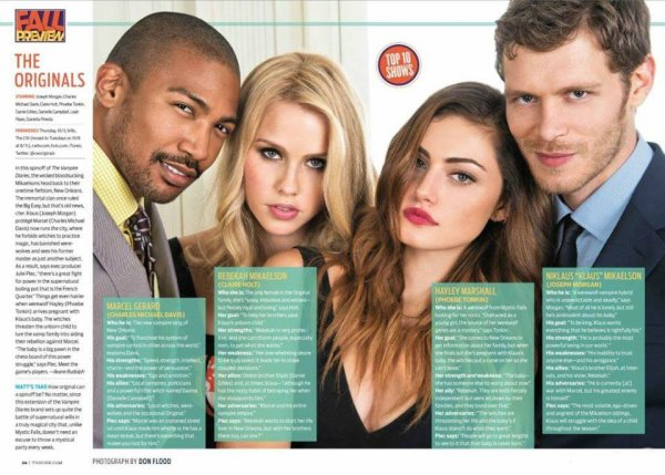 "Vidéo et photos du photoshoot du cast de ""The Originals"" pour TV Guide."
