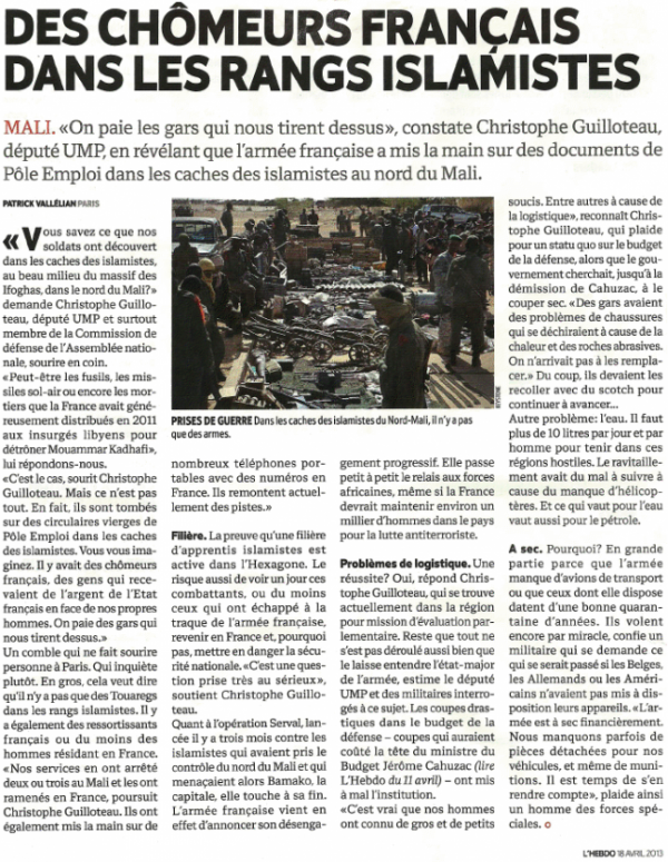 Mali : des djihadistes français payés par Pôle Emploi !!!