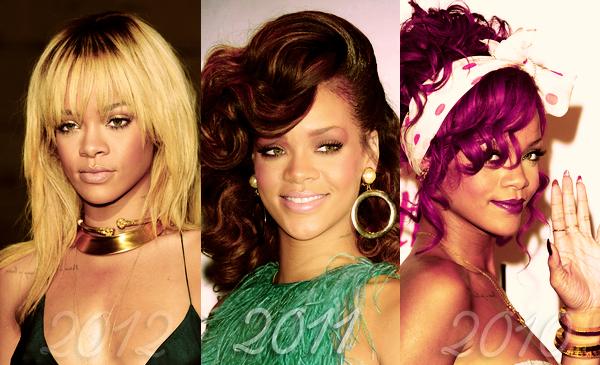 Rihanna et ses coupes aux fils de ces trois dernières années..