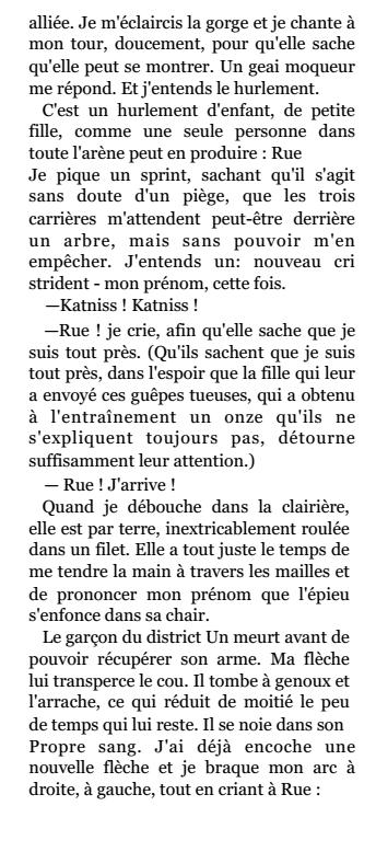 Extrem Extrait n°1 de Rue: ceci est un extrait du livre Hunger Games 1  FK16