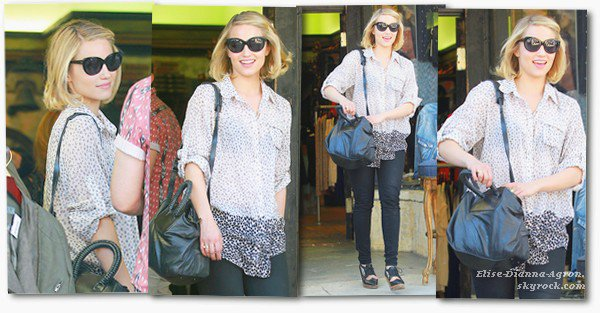 04 Avril 2012 : Dianna faisait les magasins dans Los Angeles. Top ou Flop ? Pour moi c'est un gros Top, j'aime beaucoup!