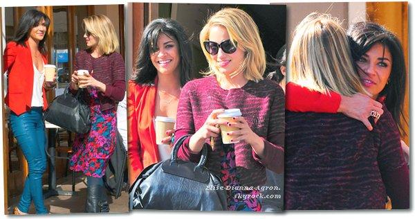 05 Avrils 2012 : Plus tôt dans la journée de jeudi, Dianna déjeunait avec Jessica Szohr (elles avaient réaliser un shoot pour OP ensemble).
