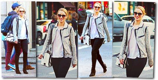 07 Avril 2012 : Dianna se baladait dans New York City. Côté tenue, je suis fan du sac! La veste lui va bien et le reste est assez simple mais je dirai Top. Et vous ?
