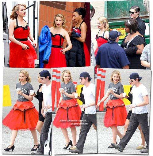 Hier, 25 avril, Dianna a été photographiée sur le tournage de l'épisode des nationales. On peut également voir ses co-stars Naya Rivera, Darren Criss ou encore Amber Riley.