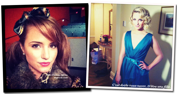 Une photo de Dianna en Sugar pour Glee, et une photo qu'elle a posté sur son twitter!  Je trouve que le brun lui va très bien!