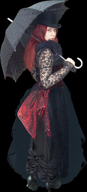 Jolies gothiques à l'ombrelle
