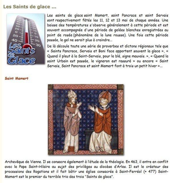 Les Saints de Glace, le 11/12 et 13 mai !