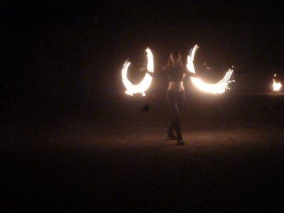 Spectacle de feu au camping
