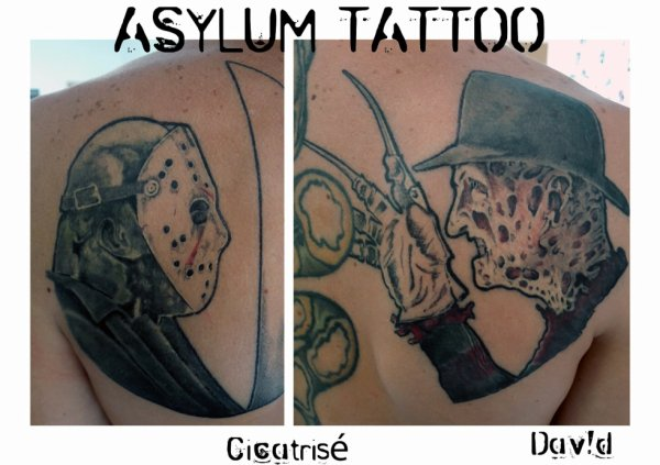 TATTOO FREDDY KRUEGER AND JASON FRIDAY 13TH ASYLUM TATTOO POITIERS @asylumtattoo86