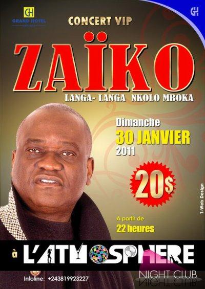 Le dimanche 30 janvier 2011 à 18h00 à l'ATMOSPHERE au Grand Hôtel de Kinshasa
