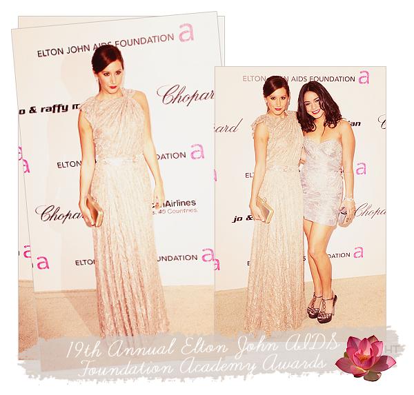 ♦APPARENCE 27 fevrier 2011//Ashley était au 19th Annual Elton John AIDS Foundation Academy Awards dans unejolie robe romaine (un peu longue pour moi m'enfin) en compagnie de Vanessa H. et d'autres stars ~   TOP