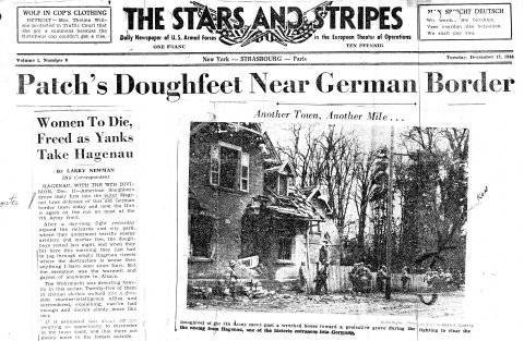 Le journal The Stars and Stripes du 12 décembre 1944 relate la libération de Haguenau et donne des détails intéressants sur la ville. L'histoire de la 79e Division d'infanterie cite Meyershoffen, Harthouse, Batzendorf,