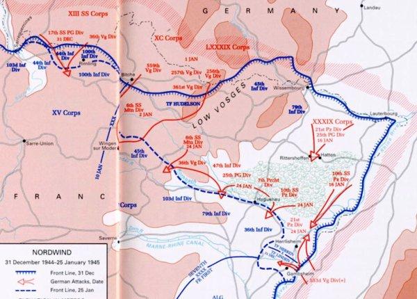 La carte de l'Opération Nordwind au 01.01.1945. Pendant que les Américains filmaient la libération, les Allemands poussaient déjà leur dernière offensive !