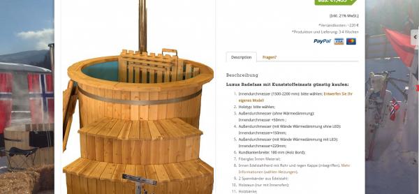 Badebottich aus Kunststoff oder Holz draußen billig Deutschland, Berlin, Dresden, Leipzig zu kaufen. Für weitere Informationen badetonneholz.de/product/badebottich-mit-holzofen-fur-den-garten-kaufen/