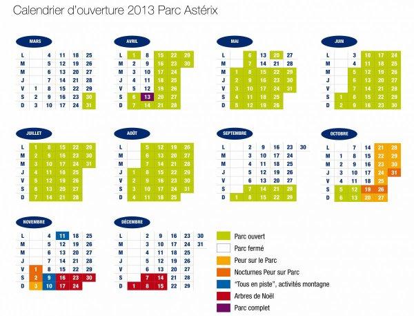 Le calendrier d'ouverture